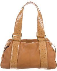 Michael Kors - Patent Ostrich-trimmed Leather Shoulder Bag Tan - Lyst
