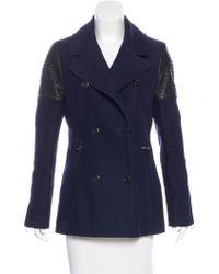 Karen Millen - Double-breasted Short Coat Navy - Lyst