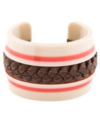 Tod's - Braided Leather Cuff Silver - Lyst