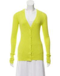 Organic By John Patrick - Ribbed Knit Cardigan Lime - Lyst