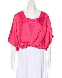 f3612090ee3e7 Lyst - Diane Von Furstenberg Berit Silk Top Coral