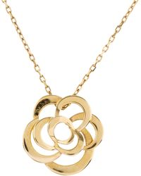 Chanel - 18k Camelia Necklace Yellow - Lyst