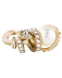 Chanel - Faux Pearl & Cc Crystal Twist Ring Gold - Lyst