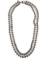 Fallon - Crystal & Beaded Chain Multistrand Necklace Gold - Lyst