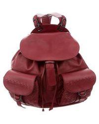 Bottega Veneta - Intrecciato-accented Backpack Red - Lyst
