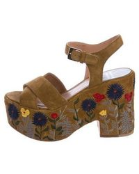ef930cdb634 Laurence Dacade - Suede Platform Sandals Olive - Lyst