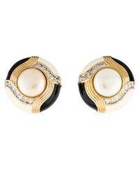 Judith Leiber - Faux Pearl, Crystal & Enamel Clip-on Earrings Gold - Lyst