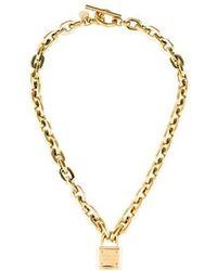 Michael Kors - Padlock Pendant Necklace Gold - Lyst