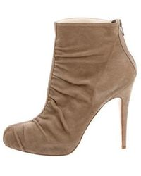Brian Atwood - Suede Ruched Booties Neutrals - Lyst