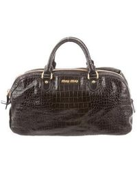 Miu Miu - Miu Embossed Leather Bag Gold - Lyst