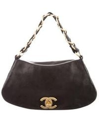 8a766cb36005 Lyst - Chanel Lambskin Olsen Flap Bag Black in Metallic