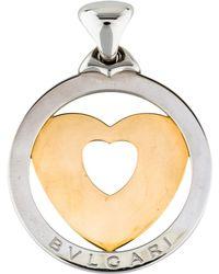bvlgari twotone tondo heart pendant yellow lyst