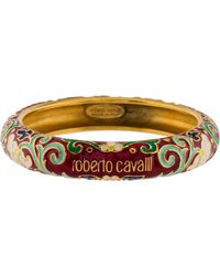 Roberto Cavalli - Floral Enamel Bangle Gold - Lyst