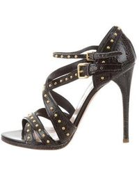Miu Miu - Miu Studded Leather Sandals Black - Lyst