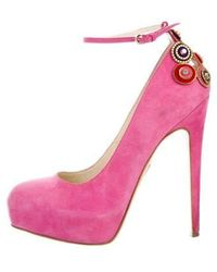 Brian Atwood - Suede Embellished Pumps Fuchsia - Lyst