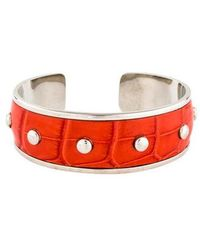 Tod's - Embossed Leather Cuff Silver - Lyst