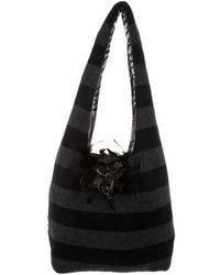 Alice + Olivia - Striped Knit Bag Black - Lyst