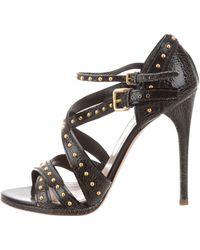 Miu Miu - Miu Studded Leather Sandals Black - Lyst
