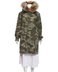 Mr & Mrs Italy - Fur-trimmed Camouflage Coat Green - Lyst