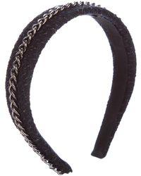Chanel - Cc Tweed Chain-link Headband Black - Lyst