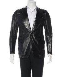 CoSTUME NATIONAL - Leather Notched Lapel Blazer - Lyst