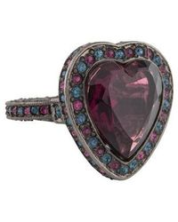 Kenneth Jay Lane - Crystal Heart Cocktail Ring Silver - Lyst