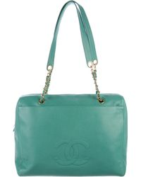 Chanel - Vintage Caviar Tote Turquoise - Lyst