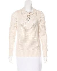 10 Crosby Derek Lam - Lace-up Knit Sweater Neutrals - Lyst