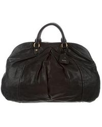 Miu Miu - Miu Pleated Leather Handle Bag Black - Lyst