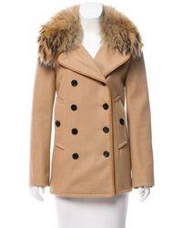 Adam Lippes - Fur-trimmed Wool Coat Tan - Lyst