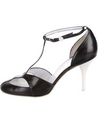 Chanel - Leather T-strap Pumps - Lyst