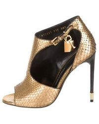 6b031c352889 Lyst - Tom Ford Python Ankle Boots Black in Metallic