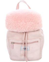 UGG - Suede Drawstring Backpack Pink - Lyst