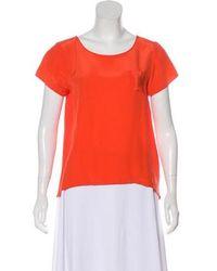 Gryphon - Silk Short Sleeve Top Orange - Lyst