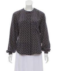 Dior - Long Sleeve Silk Blouse Navy - Lyst