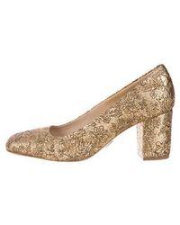 Michael Kors - Brocade Square-toe Pumps Gold - Lyst
