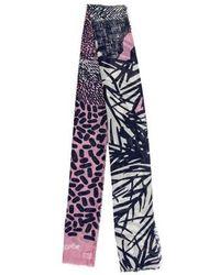 Diane von Furstenberg - Patterned Wool & Silk-blend Scarf Navy - Lyst