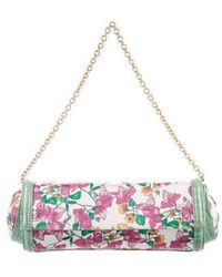 Casadei - Leather-trimmed Floral Clutch White - Lyst