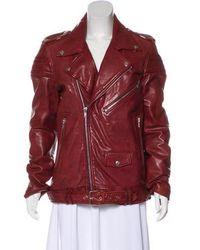 BLK DNM - Leather Moto Jacket Burgundy - Lyst