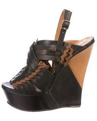 Lanvin - Leather Platform Wedge Sandals - Lyst