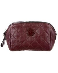 Moncler - Quilted Leather Cosmetic Bag Silver - Lyst