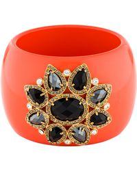 Roberto Cavalli - Crystal Embellished Resin Bangle Gold - Lyst