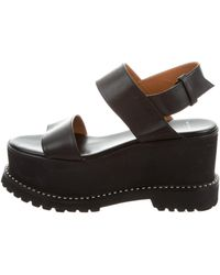 Givenchy - Leather Wedge Sandals Black - Lyst