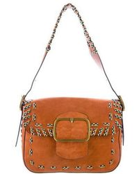 Tory Burch - Suede Sawyer Shoulder Bag Orange - Lyst