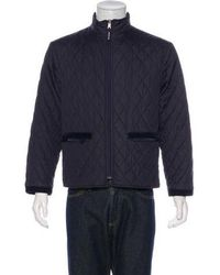 Aquascutum - Quilted Zip-up Jacket Blue - Lyst
