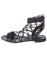 c319bad179e008 Lyst - Tom Ford Studded Suede Flat Caged Sandal
