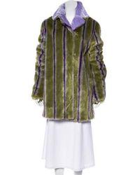 Marco De Vincenzo - Faux Fur Striped Coat W/ Tags Lime - Lyst