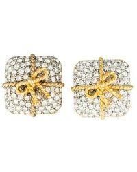 Kenneth Jay Lane - Pavé Crystal Present Clip-on Earrings Gold - Lyst