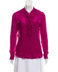 Boutique Moschino - Ruffle-accented Silk Top - Lyst