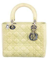 4f24f260df32 Lyst - Dior Vintage Medium Lady Handle Bag Tan in Metallic